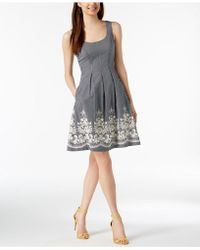 Nine West - Embroidered Fit & Flare Dress - Lyst
