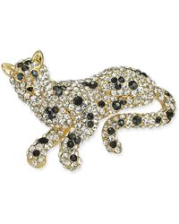 Charter Club Gold-tone Crystal Lion Pin, Created For Macy's - Metallic