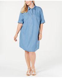 Karen Scott Plus Size Cotton Short-sleeve Chambray Shirtdress, Created For Macy's - Blue