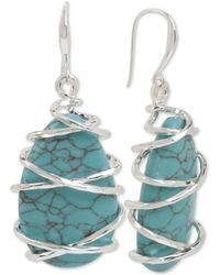 Robert Lee Morris - Silver-tone Wire-wrapped Stone Drop Earrings - Lyst