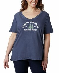 Columbia Plus Size Relaxed V-neck T-shirt - Blue