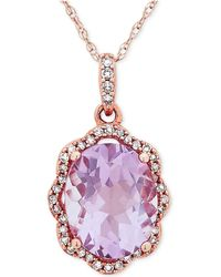 Macy's - Amethyst (2-5/6 Ct. T.w.) & Diamond (1/10 Ct. T.w.) Pendant Necklace In 10k Rose Gold - Lyst