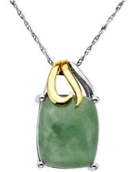 Macy's - 14k Gold And Sterling Silver Pendant, Jade Rectangle (5-3/8 Ct. T.w.) - Lyst