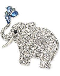 Charter Club Silver-tone Crystal Elephant Pin, Created For Macy's - Metallic