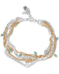 Lucky Brand Two-tone Turquoise Bead Layered Bracelet - Metallic