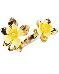 INC International Concepts Gold-tone Yellow Flower Hinge Bracelet, Created For Macy's