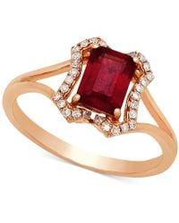 Macy's - Certified Ruby (1-1/6 Ct. T.w.) & Diamond (1/8 Ct. T.w.) Ring In 14k Rose Gold - Lyst