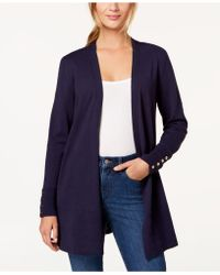 Charter Club Open-front Cardigan, Created For Macy's - Blue
