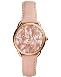 Fossil - Tailor Blush Leather Strap Watch 35mm - Lyst