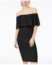 Almost Famous Juniors' Off-the-shoulder Bodycon Dress - Black