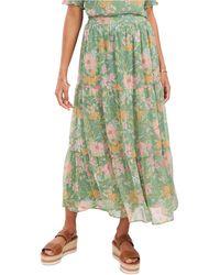 Vince Camuto Verona Garden Tiered Ruffled Skirt - Green