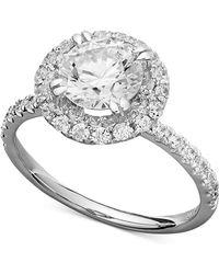 Macy's Arabella 14k White Gold Ring, Swarovski Zirconia Round Pave Engagement Ring (3-1/2 Ct. T.w.) - Metallic