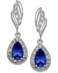 Macy's - Tanzanite (3/4 Ct. T.w.) And Diamond (1/3 Ct. T.w.) Drop Earrings In 14k White Gold - Lyst