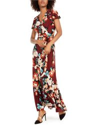 INC International Concepts Inc Floral-print Faux-wrap Maxi Dress, Created For Macy's - Red