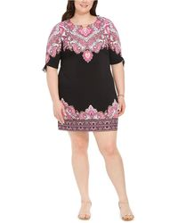 Macy's Jm Collection Petite Printed Ruched-sleeve Dress, Created For - Multicolor