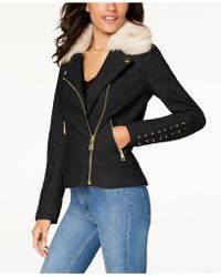 Guess - Faux-fur-collar Faux-leather Moto Jacket - Lyst