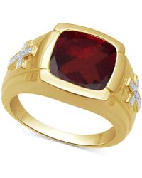 Macy's Garnet (7-3/4 Ct. T.w.) & Diamond Accent Ring In 18k Gold Over Sterling Silver - Metallic