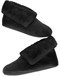 Charter Club Microvelour Bootie Slipper With Memory Foam, Only At Macy's - Black