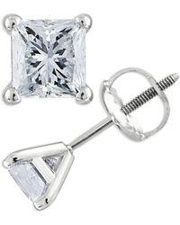 Macy's Certified 1/3 Ct. T.w. Princess-cut Diamond Stud Earrings In 14k White Gold - Multicolor