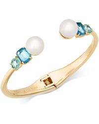 Kate Spade - Gold-tone Imitation Pearl & Crystal Hinged Bangle Bracelet - Lyst