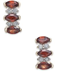 Macy's | Rhodolite Garnet (3/4 Ct. T.w.) & Diamond Accent Drop Earrings In 14k Gold | Lyst