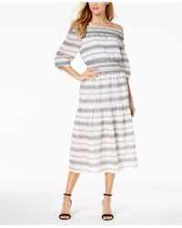 Vince Camuto - Cotton Smocked Off-the-shoulder Midi Dress - Lyst