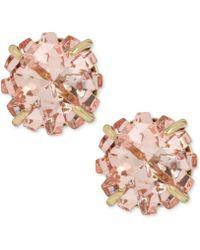 Betsey Johnson Gold-tone Pink Crystal Glitter Stud Earrings