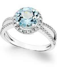 Macy's - Aquamarine (1-1/2 Ct. T.w.) And Diamond (1/3 Ct. T.w.) Split Shank Ring In 14k White Gold - Lyst