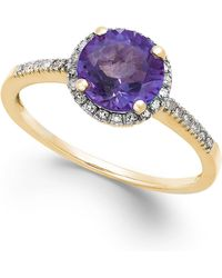 Macy's - Amethyst (1-1/6 Ct. T.w.) And Diamond (1/8 Ct. T.w.) Ring In 14k Gold - Lyst
