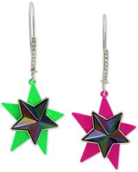 Betsey Johnson Two-tone Double Star Mismatch Drop Earrings - Multicolour