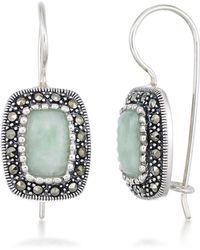 Macy's - Jade (9 X 6mm) & Marcasite Rectangle Earrings In Sterling Silver - Lyst