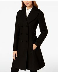 Guess Double-breasted Side-corset Walker Coat - Black