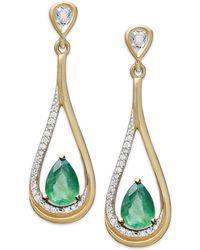 Macy's - 14k Gold Earrings, Emerald (3/4 Ct. T.w.) And Diamond (1/10 Ct. T.w.) Pear-shaped Drop Earrings - Lyst