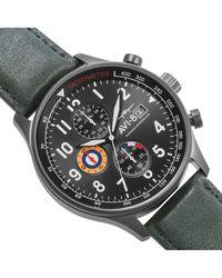 AVI-8 Hawker Hurricane Chronograph Dark Green Genuine Leather Strap Watch 42mm