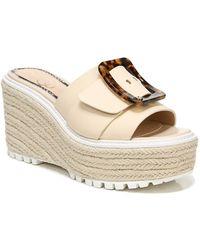 Sam Edelman Livi Buckle Wedge Sandals - Natural
