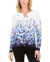 Karen Scott Printed Cardigan, Created For Macy's - Blue