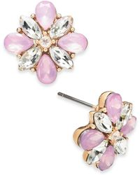 Charter Club Gold-tone Crystal & Stone Cluster Stud Earrings, Created For Macy's - Pink