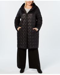 Eileen Fisher - Plus Size Quilted Long Coat - Lyst