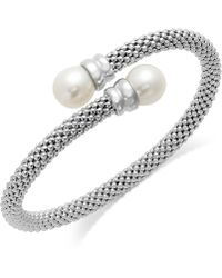 Macy's - Cultured Freshwater Pearl Bypass Bangle Bracelet In Sterling Silver (10mm) - Lyst