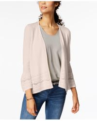 Charter Club - 3/4-sleeve Pointelle-knit Cardigan, Created For Macy's - Lyst