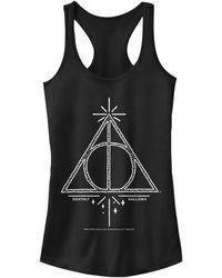 Fifth Sun Harry Potter Deathly Hallows Line Sketch Juniors Racerback Tank - Black