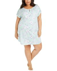 Charter Club Plus Size Cotton Sleepshirt Nightgown, Created For Macy's - Blue
