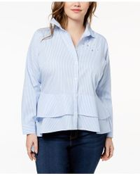 Almost Famous - Trendy Plus Size Cotton Embellished High-low Peplum Shirt - Lyst