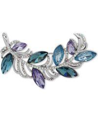 Anne Klein - Silver-tone Pavé & Blue Stone Leafy Branch Pin - Lyst