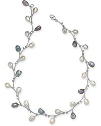 """Macy's - White & Pink Keshi Freshwater Pearl (7-1/2mm) Vine 17-1/2"""" Collar Necklace In Sterling Silver - Lyst"""