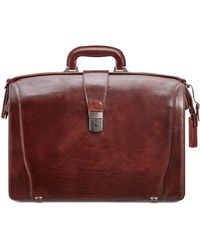 Mancini Vanizia Collection Luxurious Laptop Compatible Litigator Briefcase - Brown
