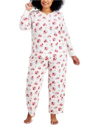 Charter Club Plus Size Thermal Fleece Printed Pajama Set, Created For Macy's - Multicolor