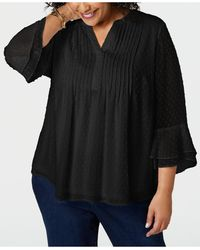 Charter Club Plus Size Double-ruffle Textured Pintuck Top, Created For Macy's - Black