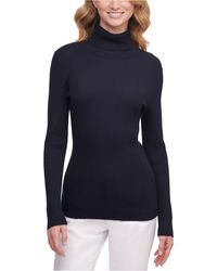 DKNY Ribbed Turtleneck Sweater - Blue