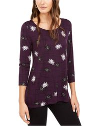 Alfani Printed Woven-back Tunic, Created For Macy's - Purple
